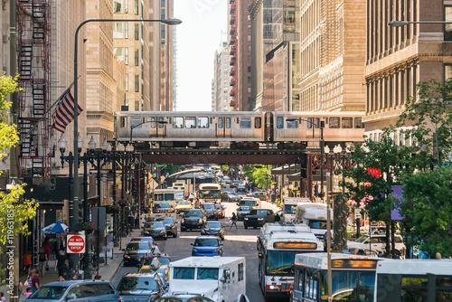Fotografia Traffic in downtown Chicago