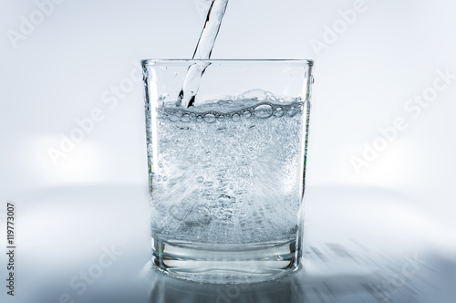 fresh, sparkling mineral water in a glass
