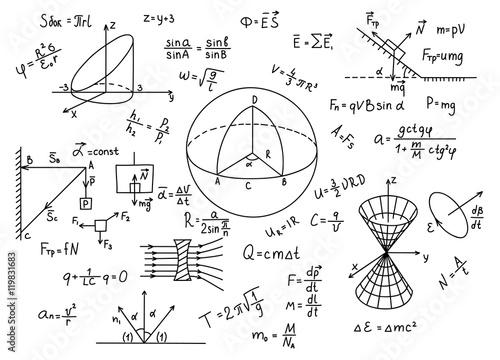 Canvas Print Hand drawn physics formulas Science knowledge education.