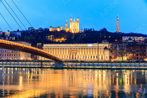 Famous church in Lyon with Saone river