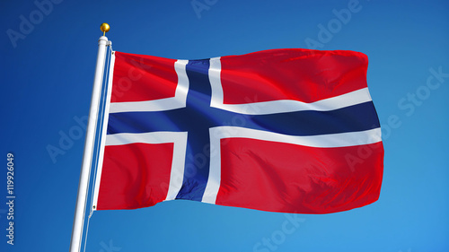 Photo Norway flag waving against clean blue sky, close up, isolated with clipping path