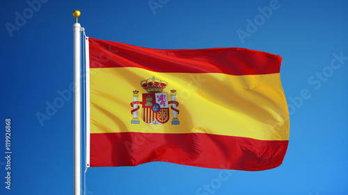 Photo Spain flag waving against clean blue sky, close up, isolated with clipping path