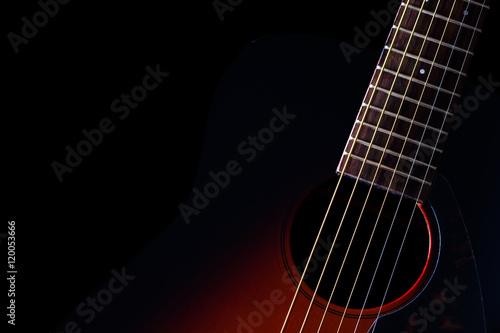 Obraz na plátne sunburst acoustic guitar & beautiful rim light of six strings, frets and body sh