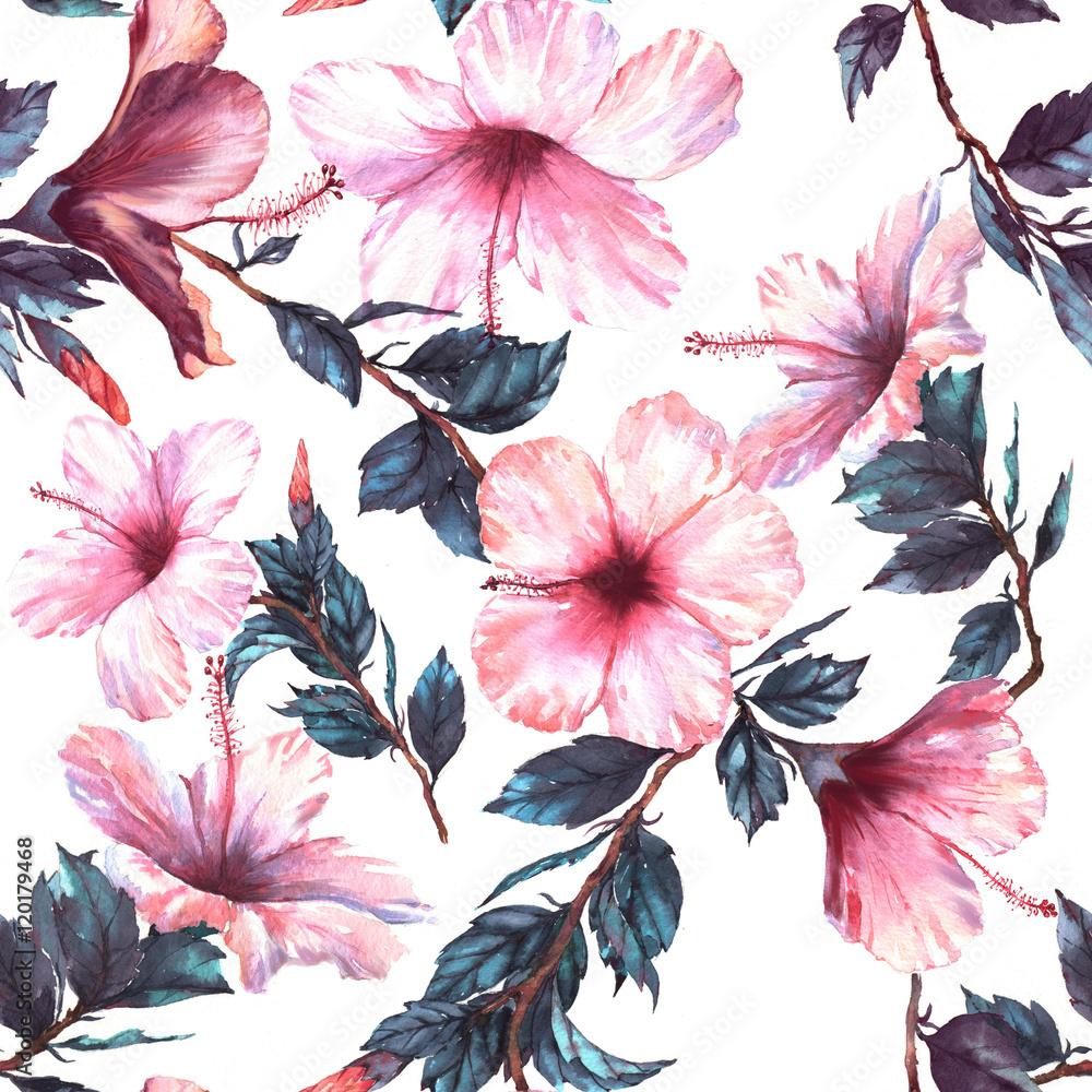 Fototapeta Ręcznie rysowane akwarela kwiatowy wzór z p
