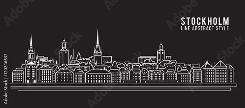 Photo Cityscape Building Line art Vector Illustration design - Stockholm city