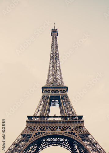 Eiffel Tower on hazy sky