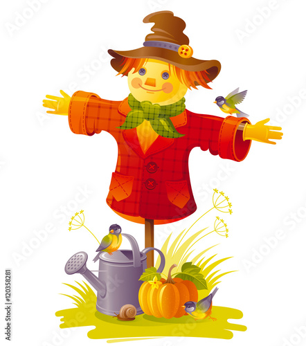 Obraz na płótnie Autumn scarecrow vector illustration on white background with gardening elements - beautiful fall pumpkin vegetable, watering can, tit birds, snail