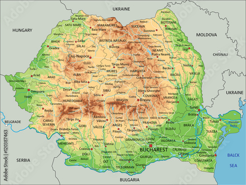 Photo High detailed Romania physical map with labeling.