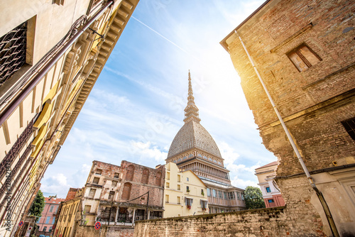 Fototapeta Mole Antonelliana museum building, the symbol of Turin city in Piedmont region i