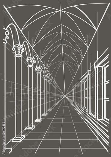 Linear architectural sketch arcade on gray background Poster Mural XXL