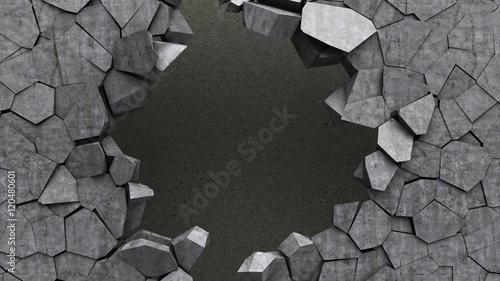 crashed wall hole