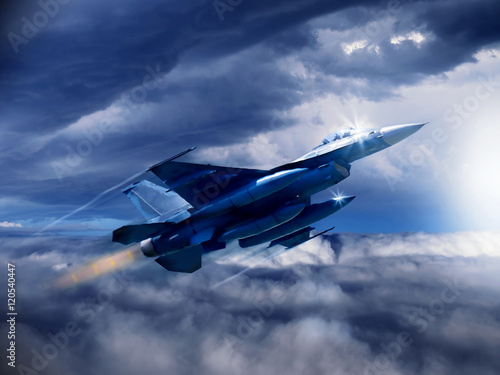 Photo An illustration of a modern 4th generation US fighter jet as soars through the clouds with empty weapons pylons