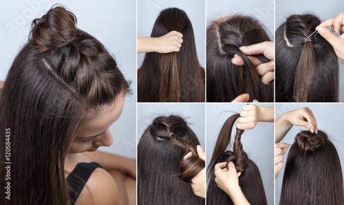 modern hairstyle bun with plait tutorial