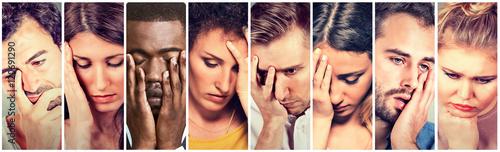 Obraz na plátně Collage group of sad depressed people. Unhappy men women