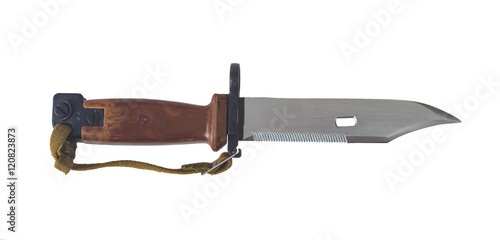 Foto AK 47 bayonet with saw isolated on white