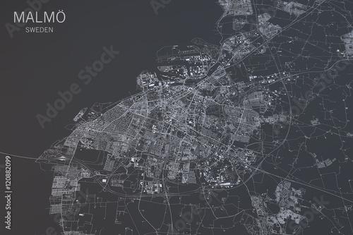 Fotografie, Obraz Cartina di Malmö, vista satellitare, città, Svezia