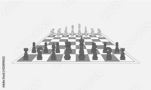 Stampa su Tela Chess pieces on the chess board. Vector