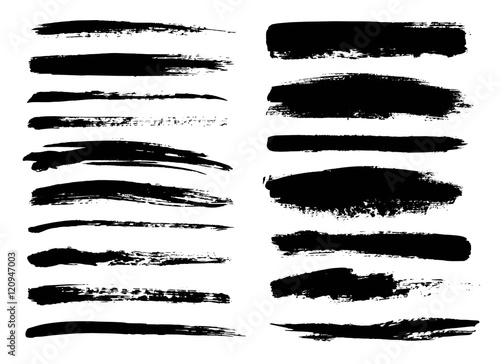 Canvas Print Set of black paint, ink brush strokes, brushes, lines