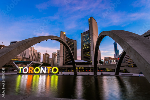 Canvas Print View of Toronto City Hall building during sunrise
