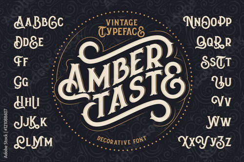 """Vintage dekoracyjne czcionki o nazwie """"Amber Taste"""" z projektowania etykiet i wzór tła"""