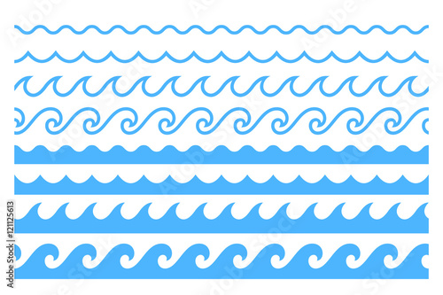 Niebieska linia fal oceanu ornament ozdoba
