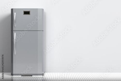 grey fridge with blank space