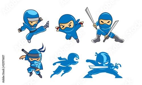 Photo Set Bundles Blue Ninja Character Logo