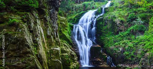 Fototapeta premium Panorama of Kamienczyk Waterfall in Karkonosze National Park in Poland Sudety Mountains near Szklarska Poreba town.