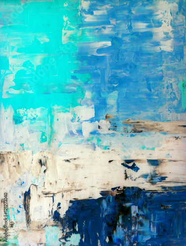 Teal and Beige Abstract Art Painting Fototapet
