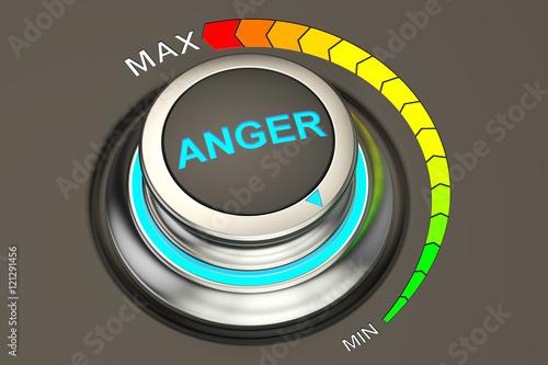 Tela min level of anger concept, 3D rendering