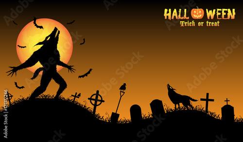 Photo howling werewolf with halloween background