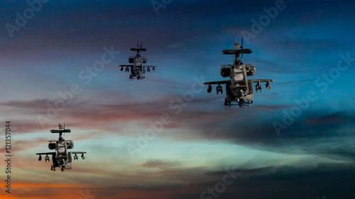 Fotografia Military gunships flying with dramatic sky