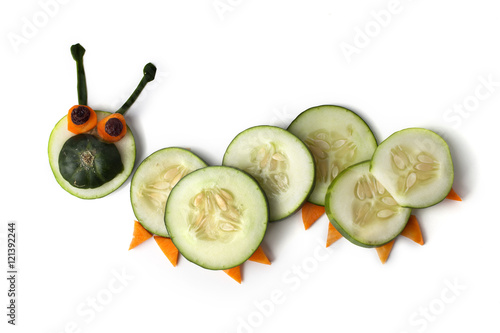 Food art creative concepts. Animals made of many fruits over white background