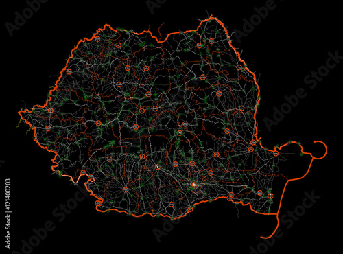 Canvas Print Black and white map of Romania. Roads