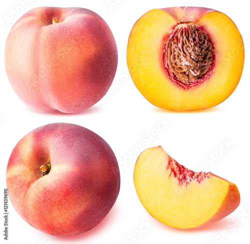 Photo peach fruit sliced collection isolated on white background