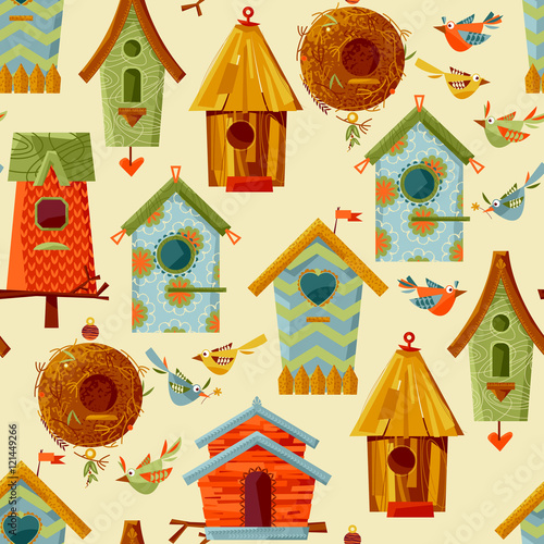 Canvas Print Multi-colored birdhouses and birds. Seamless background pattern.