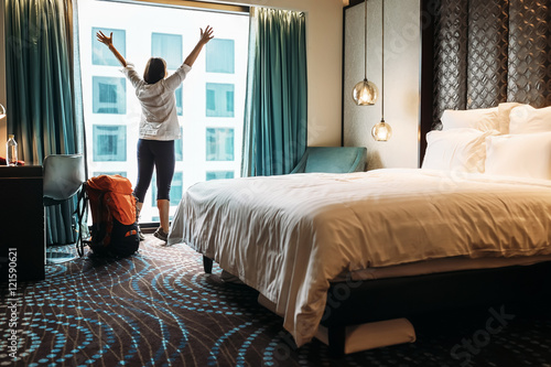Backpacker traveller happy to stay in five star hotel