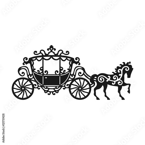 Cuadros en Lienzo Horse-Carriage silhouette with horse