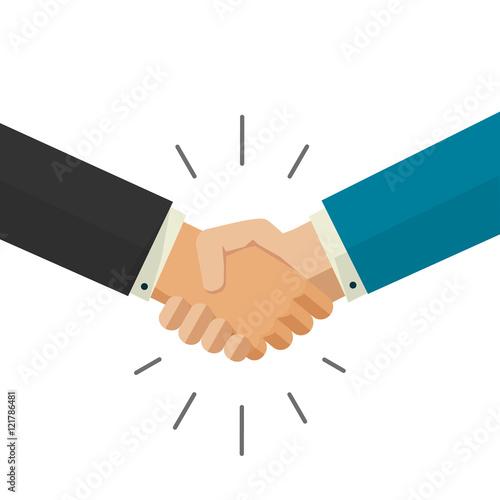 Fotografia Shaking hands handshake business vector illustration isolated on white backgroun
