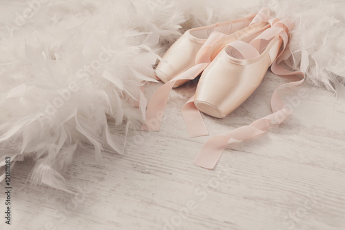Leinwand Poster Pink ballet pointe shoes and feather on white wood background