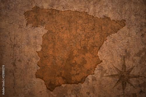 Photo spain map on vintage crack paper background