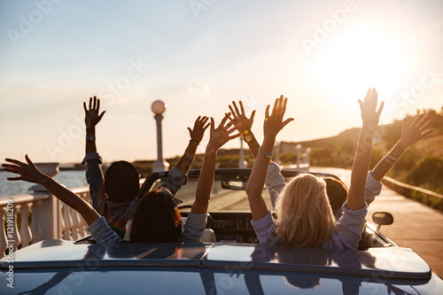 Photo Back view of happy friends driving cabriolet with raised hands