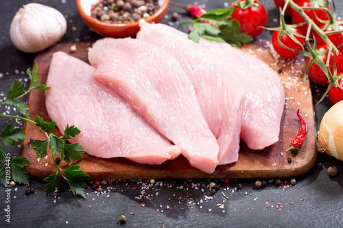 Stampa su Tela fresh chicken fillet with vegetables
