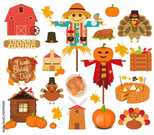 Fotografia Thanksgiving Set of Turkey Day Objects