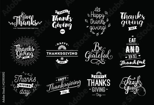 Zestaw typografii dzień Dziękczynienia.