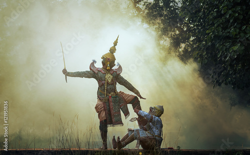 Canvas Print Khon is traditional dance drama art of Thai classical masked, this performance i