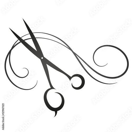 Photo Scissors and hair sign for beauty salon