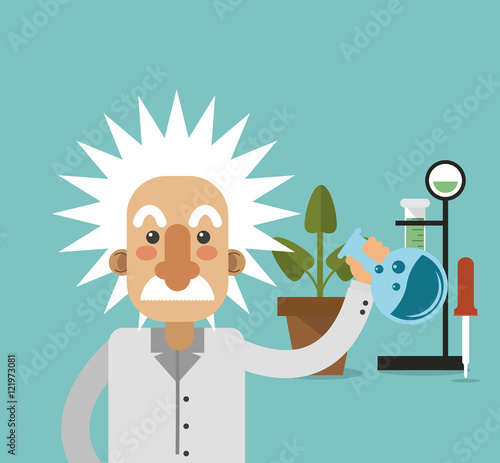 Photo flat design albert einstein with science related icons image vector illustration