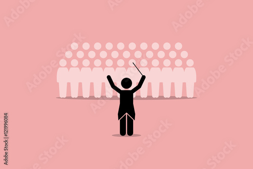 Conductor conducting a choir group Poster Mural XXL