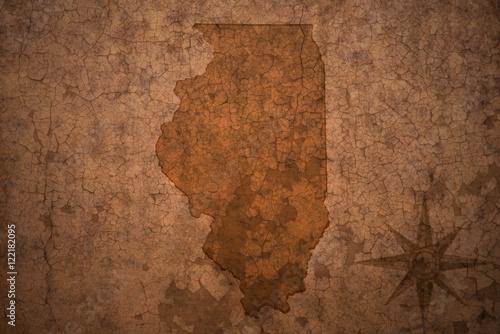 Fotografia illinois state map on a old vintage crack paper background